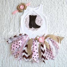 Fabric tutu outfit, Cowgirl tutu set, Shabby Chic Birthday Outfit, Cowgirl or Cowboy Outfit, 1st Birthday, baby girl, newborn outfit