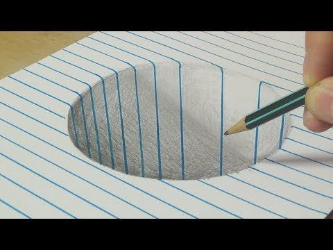 Drawing a Round Hole on Line Paper – Trick Art wit…