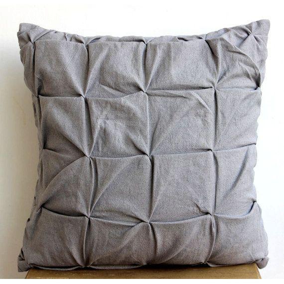 grey accent pillows 16x16 cotton linen pillow
