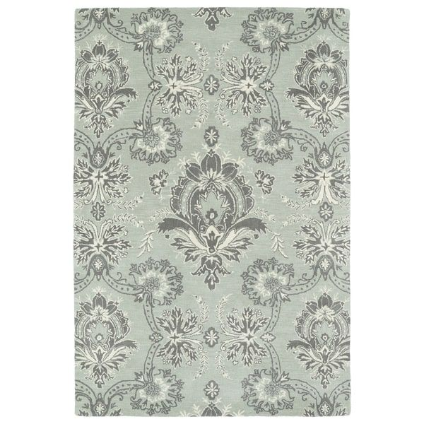 Hand-Tufted Seldon Mint Damask Rug (8'0 x 10'0)