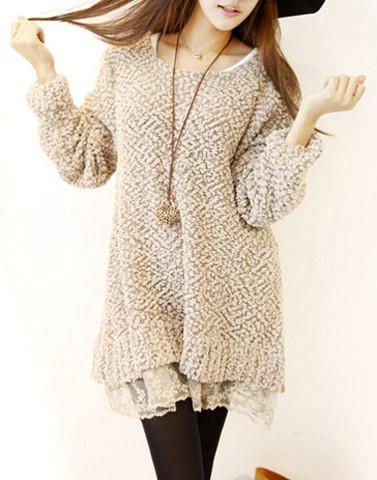 Loose Fit Tan Sweater with Lace Layers