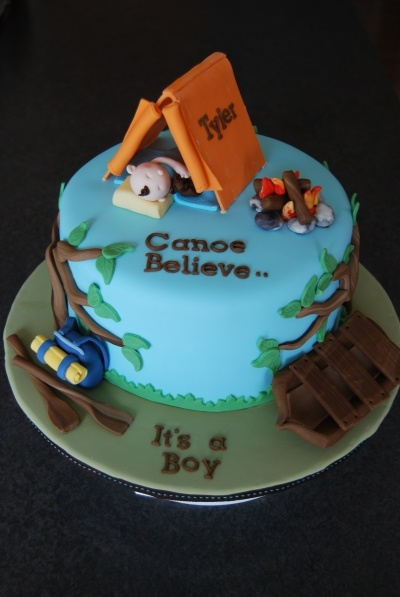 Camping Baby Shower Cake By Marniela on CakeCentral.com