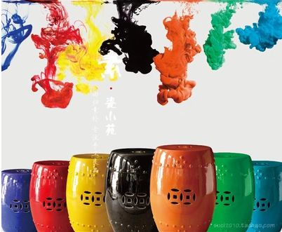 Ceramic drums in every colour of the rainbow