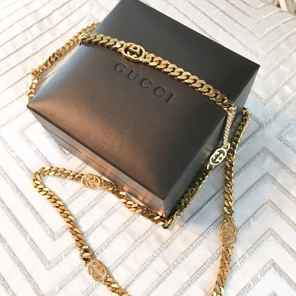 "RARE Vintage Gucci Gold Tone GG Chain Necklace This is 100% authentic RARE Vintage I believe Gucci gold tone GG chain necklace. GG logo is throughout thick gold chain. It is not stamped Gucci and may have be re plated before. Has been previously authenticated.  30"" in length. Box not included. Not sure if selling yet. Gucci Jewelry Necklaces"