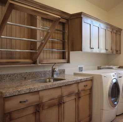 Wooden drying rack laundry room