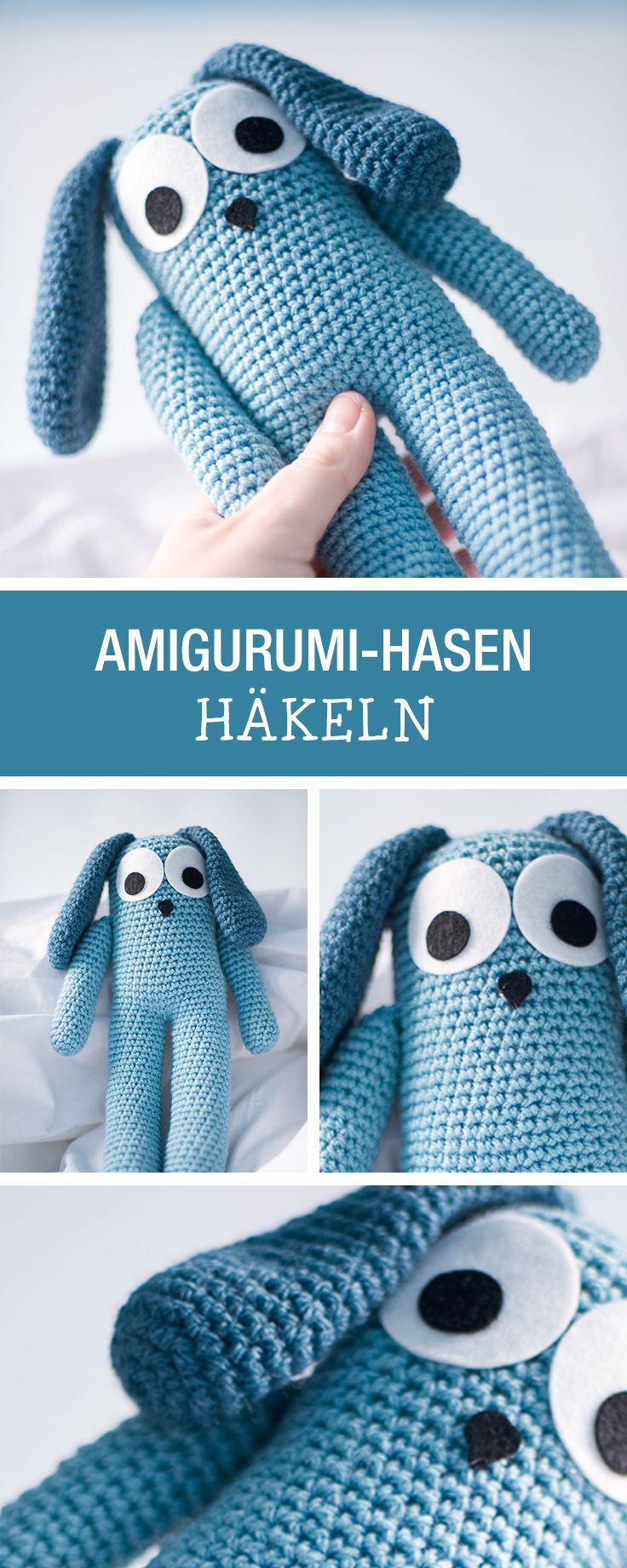 DIY-Anleitung: Kuscheltier-Hasen häkeln, kleines Amigurumi Spielzeug / DIY tutorial: crocheting small soft toy bunny, small amigurumi toy via DaWanda.com