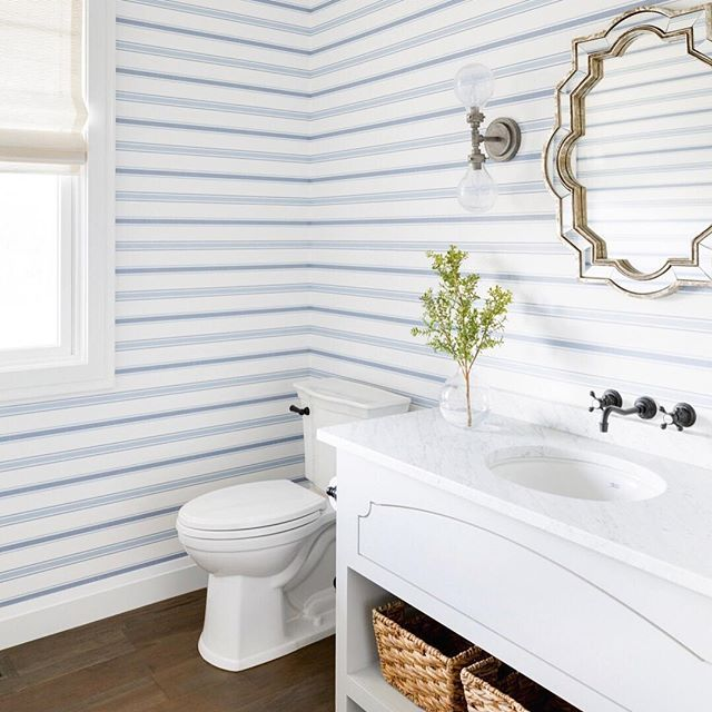 Favorite pattern of wallpaper this year? Definitely has to be horizontal stripes 😍 Such a classic pattern installed in an unexpected way! What's yours? 📷: @spacecrafting_photography Builder: @divinecustomhomes . . . . . . . #bhi #bhilivebeautifully #sharemysquare #howyouhome #showmeyourstyled #decorcrushing #bhghome #everydayibt #currentdesignsituation #localhomes #sharemystyle #hgtvhome #mybhg #myhousebeautiful #nestworthy #prettylittleinteriors #inspotoyourhome #makehomeyours…