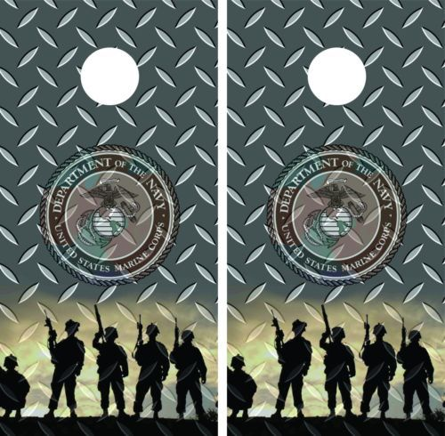 Marine-Corp-Diamond-Plate-Cornhole-Board-Game-Decal-Wrap-Wraps