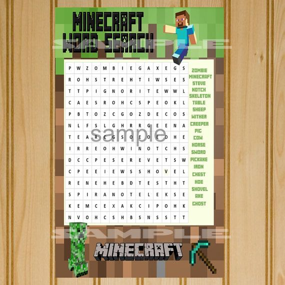 INSTANT DOWNLOAD    Minecraft Word Search game.    Great for birthday party fun!    We have Minecraft Bingo in our shop, too.    On 8.5 x 11