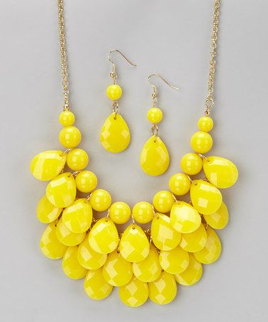 Another great find on #zulily! Yellow Waterdrop Necklace & Earrings #zulilyfinds