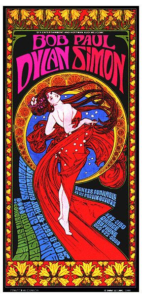 Bob Dylan & Paul Simon Art Nouveau Psychedelic by BobMasseStudios, $25.00