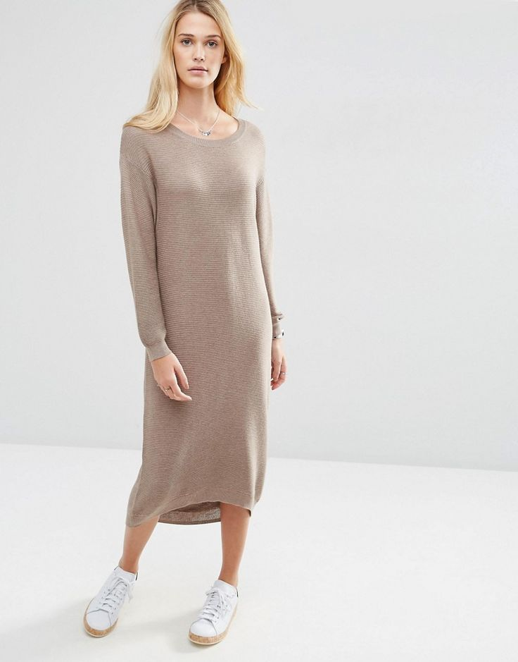 ASOS Knit Midi Dress in Recycled Yarn - Shop for women's Dress - Taupe marl