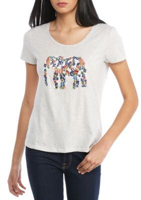 French Connection Women's Toyen Elephant Top - Light Grey/ Red Multi - L
