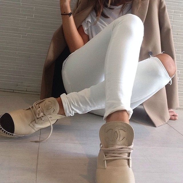 Camel & White; footed off with Chanel espadrilles. What more could you ask for?