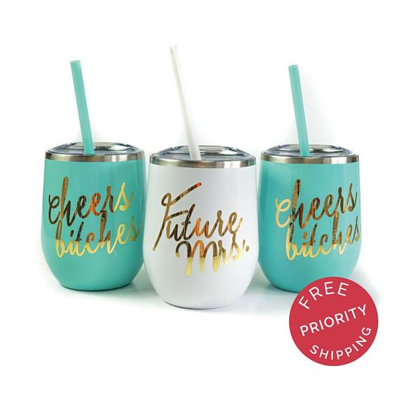 Bachelorette Party Cups for your night out with the girls! Sip on your favorite beverage with these adorable stemless wine tumblers. Each come with a clear acrylic lid and matching straw. - Each stainless wine tumbler has a matching straw - 12 oz vacuum insulated double wall wine