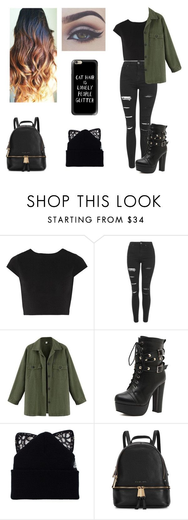 """Untitled #6"" by jaderaphael ❤ liked on Polyvore featuring beauty, Alice + Olivia, Topshop, WithChic, Silver Spoon Attire, Michael Kors and Casetify"