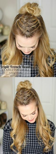 Triple French Braid Double Waterfall Mini Bun