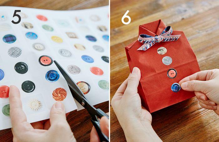 ⑤ボタンの写真をプリントした用紙を、形に沿ってカットします  ⑥5の部品の剥離紙をはがし、本体に貼って完成です