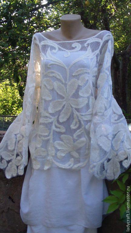 Купить Блуза Сударыня - цветочный, белый, шерсть меринос, шерстяное кружево…