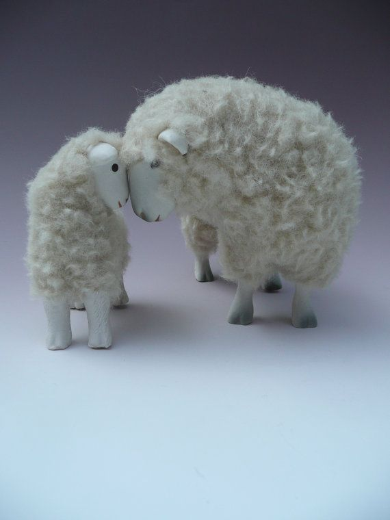 Dorsets Seeing Eye to Eye - porcelain and wool sculpture - by Colinscreatures / Colin Richmond