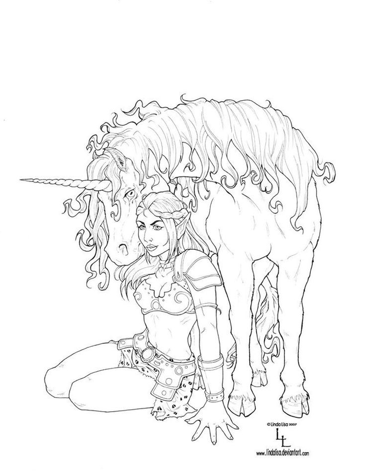 Free coloring page coloring-adult-fantasy-unicorn. Unicorn & woman coloring page