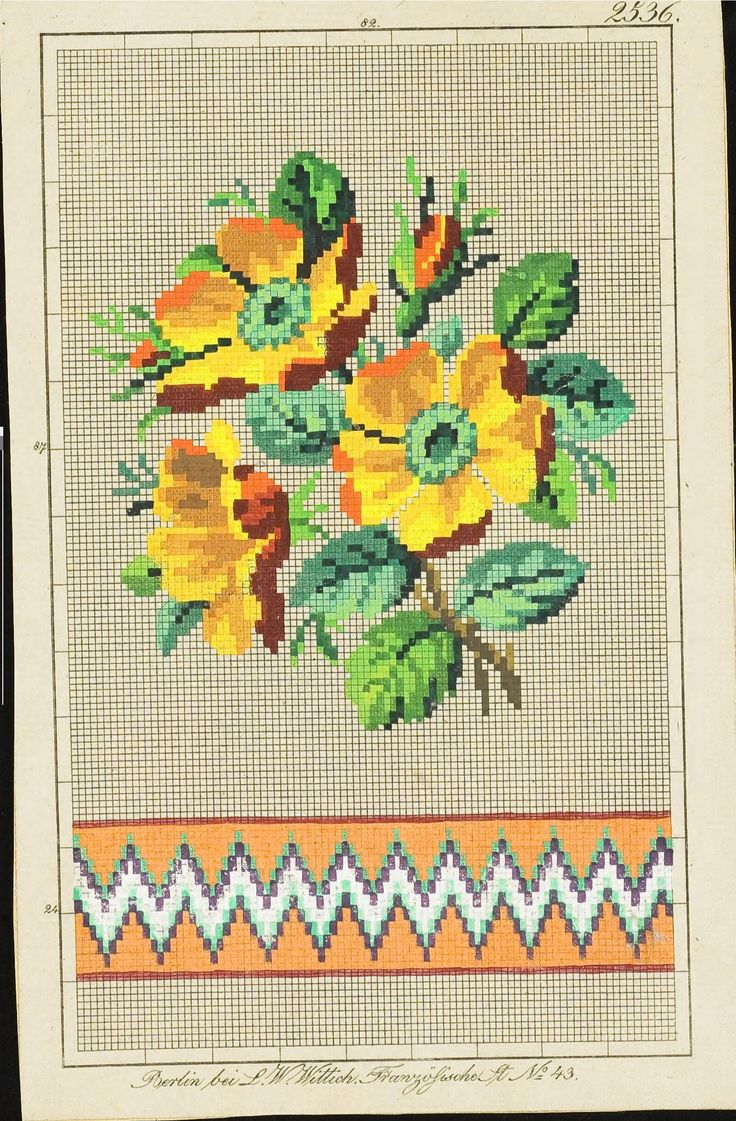 Berlin woolwork chart: Yellow roses