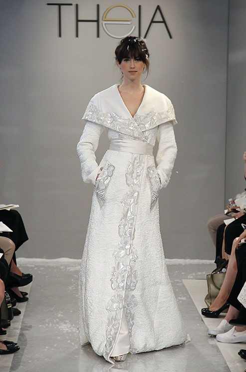 This unique cashmere bridal coat is designed for a winter bride. Theia Fall 2015 wedding dress.
