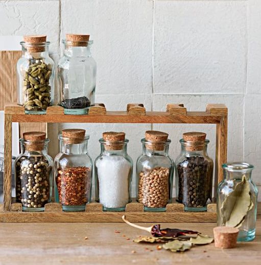 Keep your spices organized with this wooden spice rack