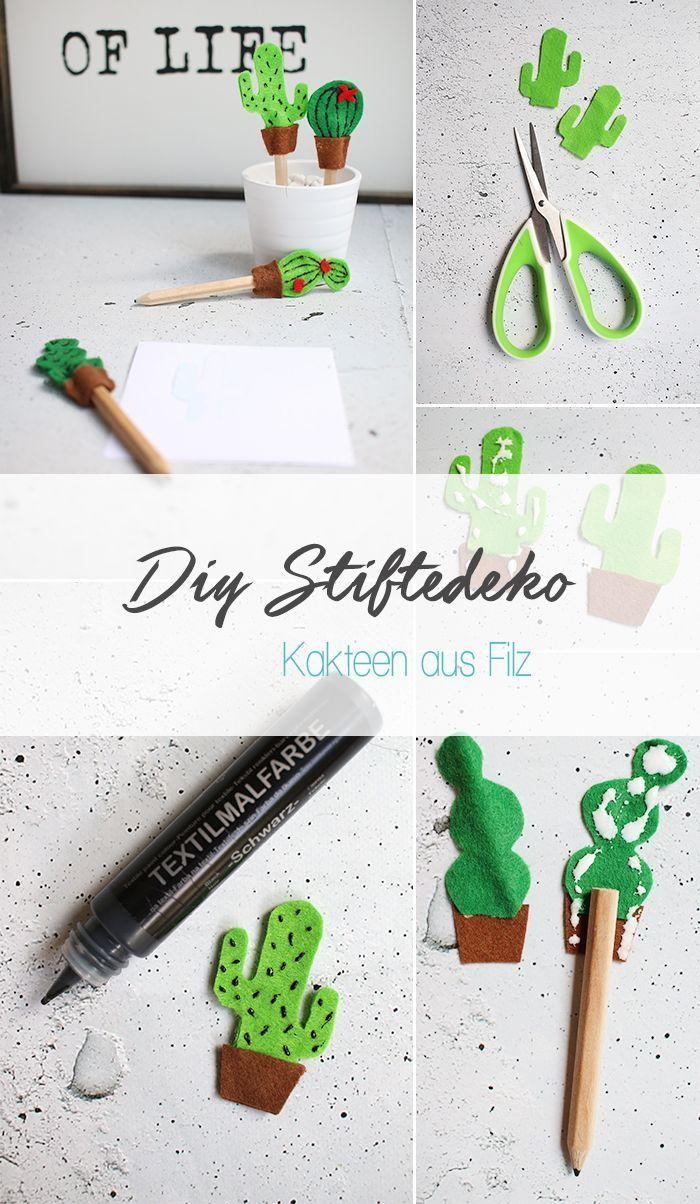 Do It Yourself Buntstifte Mit Filzkakteen Selbst Dekorieren Kaktus Filzen Selber Machen