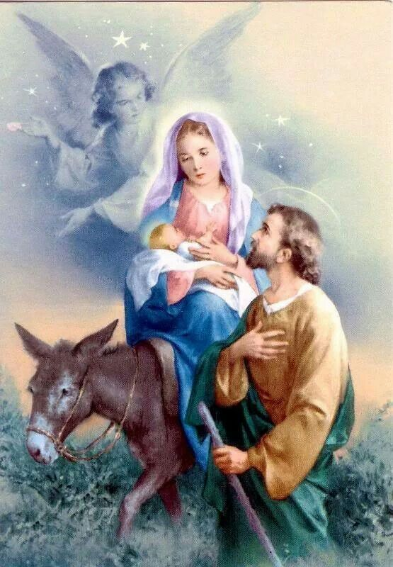 Flight to Egypt.  Mary, Joseph and Baby Jesus.