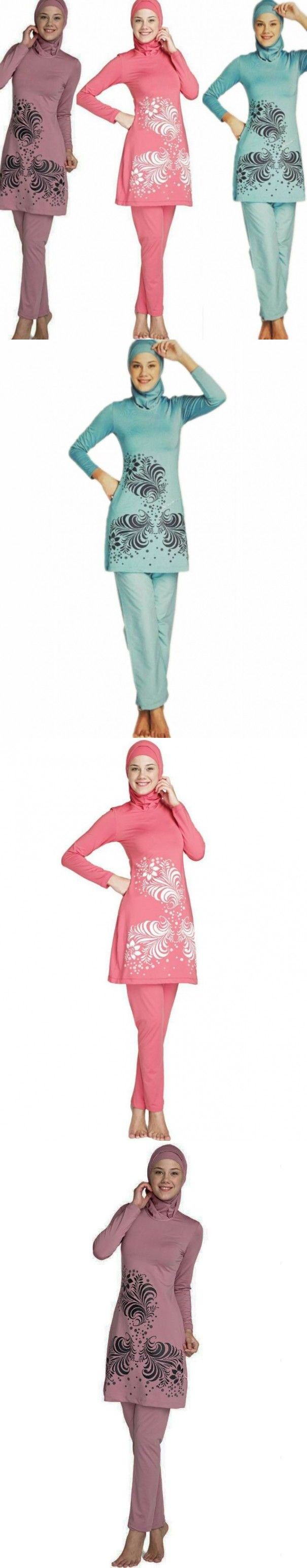 S-4XL Full Cover Up Modest Girls Muslim Swimwear Islamic Swimsuit Conservative Long Sleeve Bathing Suit For Women Beachwear $42.6