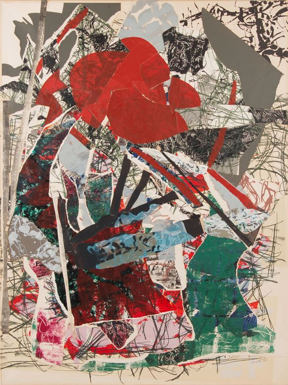 Collage by Jean-Paul Riopelle, 1967, Verbe Herbe-6409, paper on canvas.