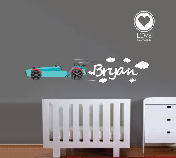 Personalized car wall decal boys room wall decal big sport car and a custom