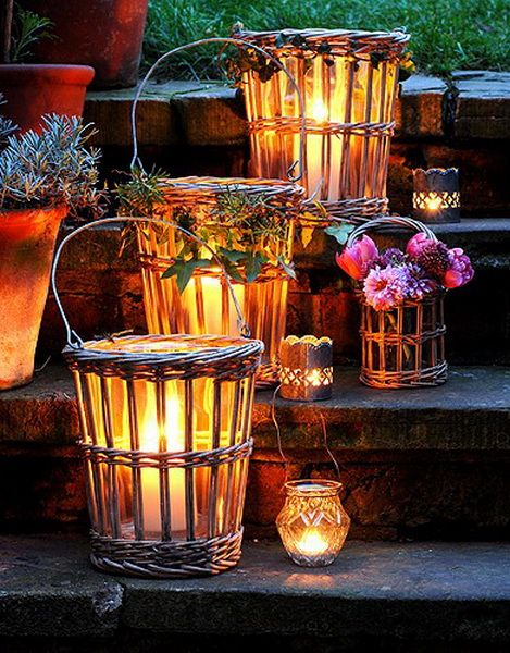 Wicker basket lanterns outdoor lighting!