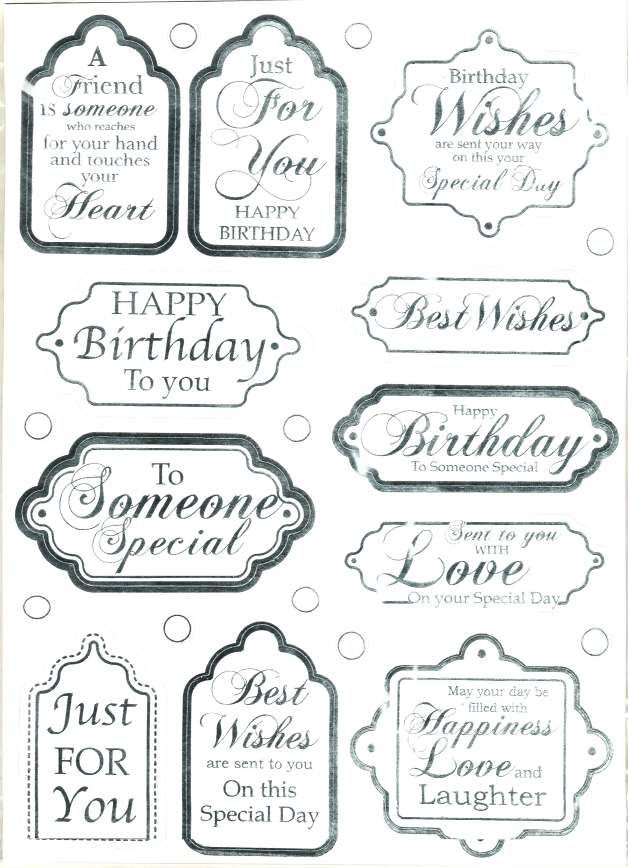 Die cut greetings, sentiments & embossed backing card - Birthday - silver…