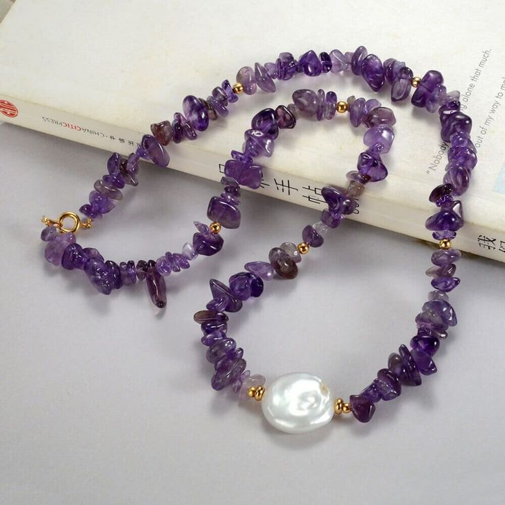 Stylish Nugget Purple Amethyst and Coin Pearl Necklace Gemstone Jewelry 18″