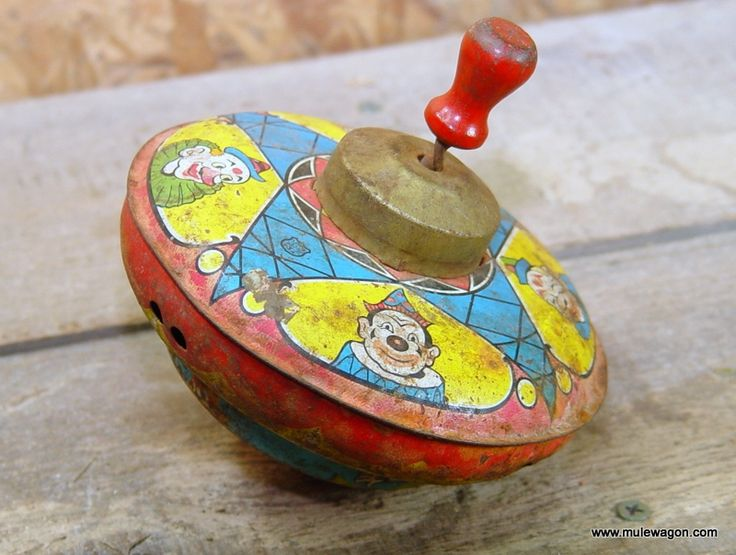 Retro Top Toys : Vintage toy tin spinning top from mulewagon this