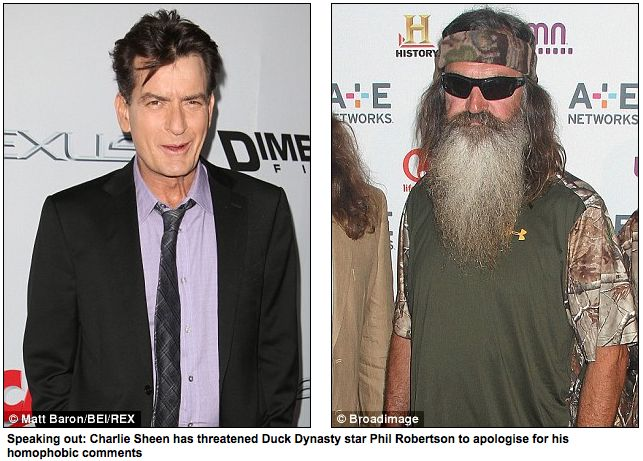 "Charlie Sheen THREATENS Phil Robertson... in a lengthy twitter ""letter/Threat"" to Mr Phil -sheen: You have hurt many of my gay friends... They do not have the outreach that I do, so........read article and see just How Big of an A$$hole this looser-at-life is! Pathetic. Screw Charlie Sheen!!! He is off my TV/Movie watch list!!!"