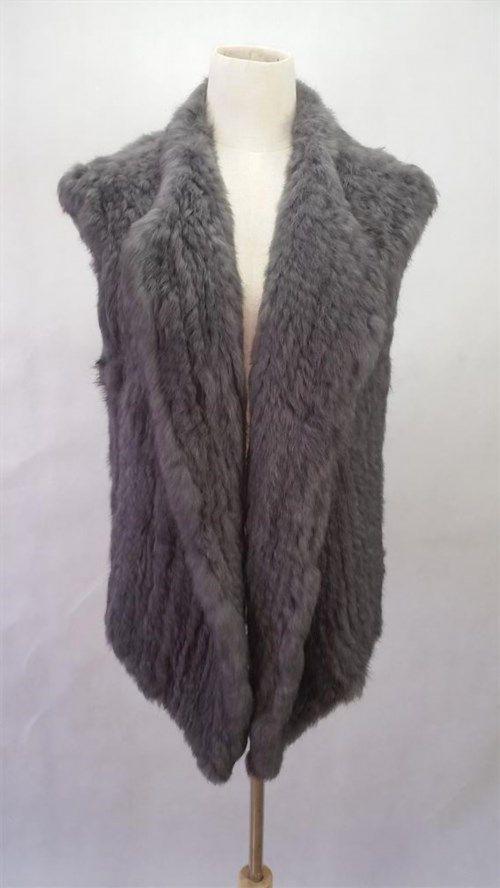 70.20$  Watch here - http://vihtn.justgood.pw/vig/item.php?t=xe4sbg14299 - Dark Grey Knitted Vest Crochet Real Rabbit Fur Vest Casual Gilet Warm Outwear