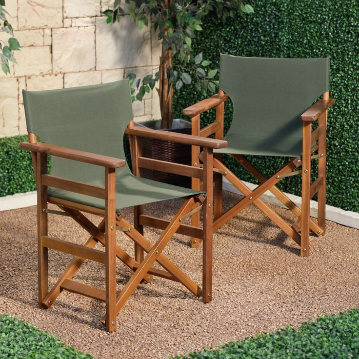 Coral Coast Outdoor Directors Chair   Set Of 2   FC97   FOREST GREEN