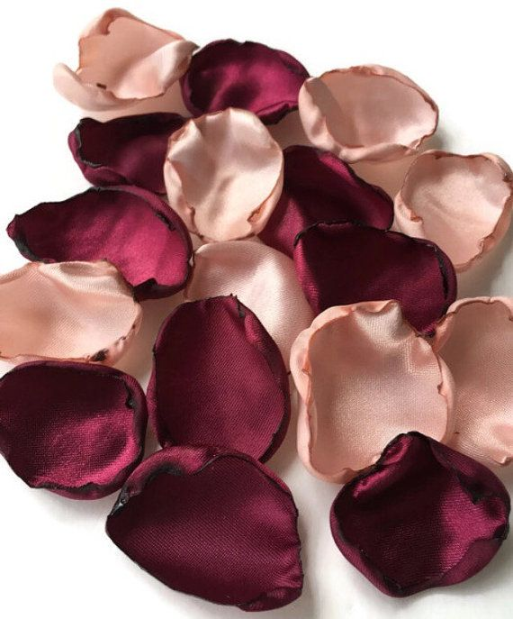 Marsala Maroon & blush pink flower petals, Wine rose petals, Burgundy table decor, flower girl petals, wedding aisle decor