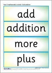 Year 5 maths vocabulary cards: Calculations (SB6905) - SparkleBox