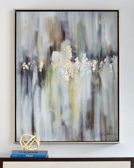 "Artist: Jackie Ellens. Hand painted on canvas. 37.5""W x 2""D x 48.5""T. Highlighted by textural gold leaf and silver leaf. High-gloss vitreous finish. Silver-edged wood gallery frame. Framed without gla"