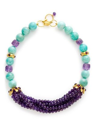 Amethyst & Russian Amazonite Collar Necklace by Bounkit at Gilt - Kumihimo inspiration