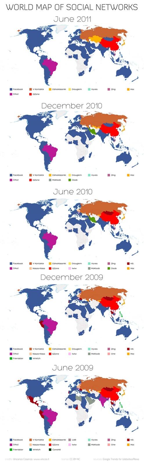 Mapa Mundial de redes sociales, el avance de Facebook - via Pizcos.net  #fb