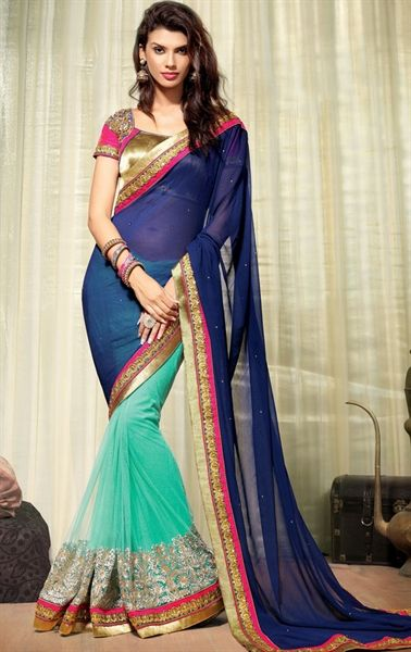 Classy Cyan Blue and Royal Blue Color Saree