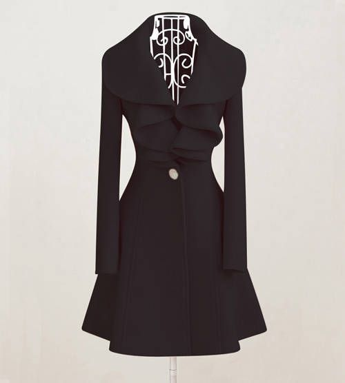 Cheap Beam Waist Long Sections Worsted Solid Color Ruffles Trench Coat For Women (BLACK,M), Jackets & Coats - Rosewholesale.com