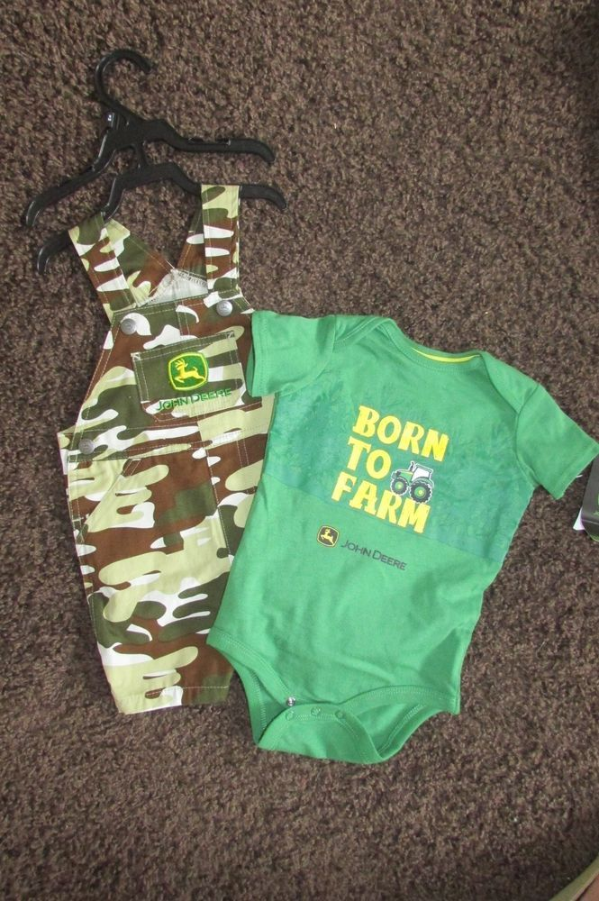 New Baby Boys JOHN DEERE Bib Overalls & Shorts size 9 Months 9M Infant Camo Kids
