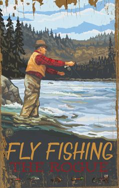CUSTOMIZABLE Fly Fishing Vintage Wood Sign Art