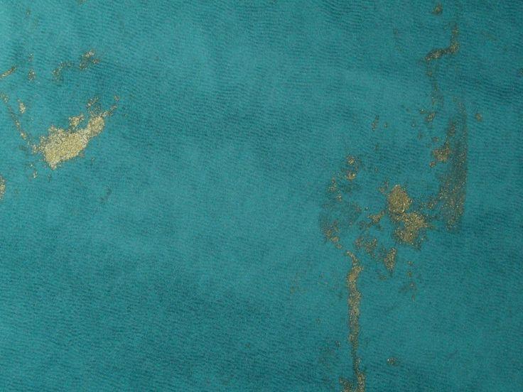 Hand Painted Silk Crepe Satin - Teal - Fabric Godmother
